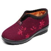 Bordado de flores bordadas en la piel Forro de invierno Botas de tobillo cálidas