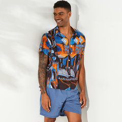 Mens Funny Floral Printed Turn Down Down Collar Short Sleeve Loose Shirts