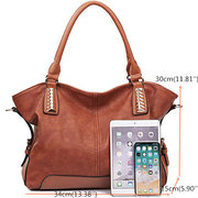 Women Handbag Hobo PU Leather Tote Large Shoulder Handbag