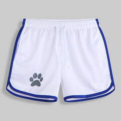 Mens Mesh Paw Print Beach Board Shorts Quick Dry Sports Short Drawstring With Pockets