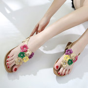 Colorful Flower Clip Toe Summer Beach Casual Sandals