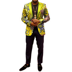 Peak Collar Printing Batik African Stytle Casual Blazer for Men