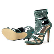 Hollow Out Rhinestone Zipper Roma Gladiator Heel Sandals