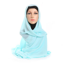 Women Muslim Chiffon Head Coverings Hijab Face-lift Solid Colors Headscarf Hat Islamic Scarf