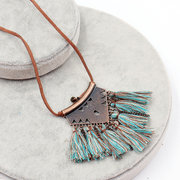 Vintage Pendant Necklace Wax Rope Colorful Fabric Tassels Fan Charm Necklace Ethnic Jewelry for Girl