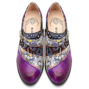 SOCOFY Bohemia Genuine Leather Splicing Jacquard Handmade Retro Pattern Buckle Zipper Pumps