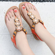 Women Casual Soft Beach Rhinestone Flip Flops Sandals