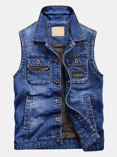 Cargo Loose Outdoor Moda Multi Pockets Denim Vest para Homens