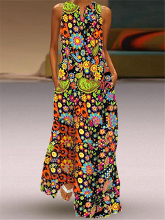 Bohemian Print Sleeveless Maxi Summer Dress