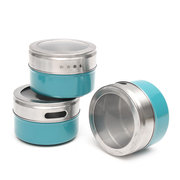 12Pcs/Set Magnetic Spice Tins Stainless Steel Storage Container Jars Clear Lid BBQ Seasoning