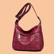 Women Soft Leather Double Layer Crossbody Bag Solid Soft Leather Messenger Bag