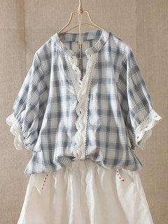 Sweet Lace V-neck Half Sleeve Plaid Shirt