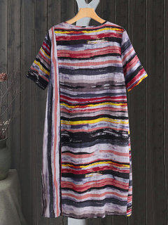 Vintage Muti Color Striped Short Sleeve Plus Size Dress
