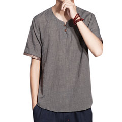 Mens Cotton Linen Retro T-shirt Round Neck Chinese Style Short Sleeve Loose Fit Top Tee