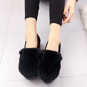 Fur Suede Rabbit Ears Decoration Warm Soft Loafers For Women