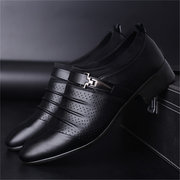Men Metal Buckle  Hollow Out Pointed Toe Formal Wedding Dress Shoes