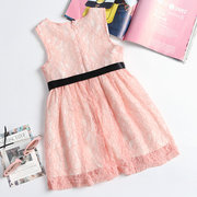 Bow-Knot Girls Sleeveless Lace Princess Dress For 2-11Y