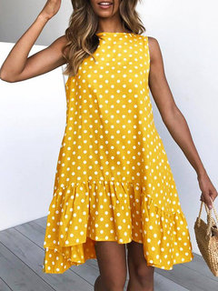 Print Polka Dots Sleeveless High Low Dress
