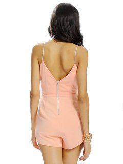 Women Sexy Deep V Hollow Sleeveless Solid Color Jumpsuit