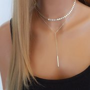 Fashion Multilayer Gold Necklace Copper Sequin Chain Tassels Pendant Clavicle Necklace for Women
