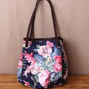 Femmes Style National Fleur Motif Sac À Main Fourre-tout Coton Creative Sacs à bandoulière