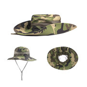 Mens Twill Side Snap Chin Cord Hat Wide Brim Bucket Cap Windproof Fishing Hats Sunshade Cap