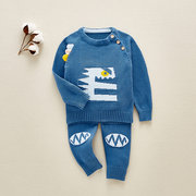 2Pcs Baby Cartoon Print Sweater Set Knit Cardigan Spring And Autumn Set For 0-18M
