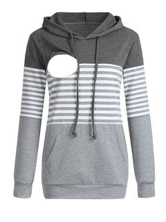 Maternity Multi-function Striped Colorblock Hooded Nursing Sweater