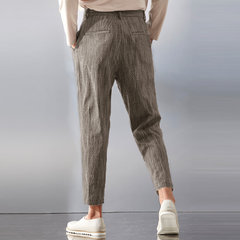 Mens Casual Pants Slim Fit Pockets Cargo Work Straight Trousers