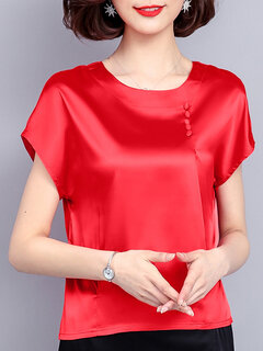 Pure Color Smooth Beading Short Sleeve Casual T-shirts