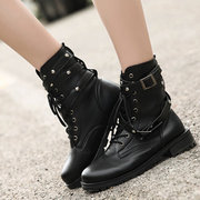 Black Soft Round Toe Lace Up Trending Rivet Buckle Boots