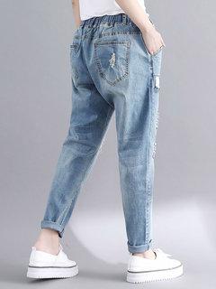 Повседневная проблемная эластичная джинсовая ткань Plus, размер Брюки