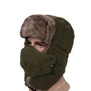Mens Unisex Peach Skin Velvet Winter Hats Outdoor Skiing Windproof With Masks Russian Caps
