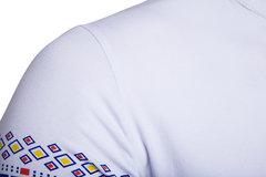 Uomo T-shirt Cinese con Collo V con Stampa a Maniche Lunghe