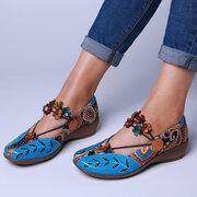 SOCOFY motif folkways en cuir véritable épissage jacquard confortable élastique chaussures Bande