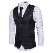 Men Casual Slim Fit Single Breasted Notch Collar Suit Vest