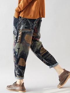 Impressão Vintage Elástico Na Cintura Denim Harem Calças para Mulheres