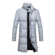 Winter Casual Mid Long Slim Thicken Stand Collar Coat Jacket for Men