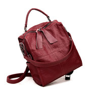 Women High-end Stitching Soft PU Leather Handbag Multi-function Backpack