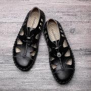 Menico Large Size Men Cap Toe Elastic Lace Up Soft Hole Leather Sandals