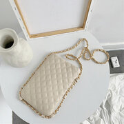 Women Linge Chains Crossbody Bag Casual Shoulder Bag Solid Phone Purse