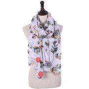 Dames Plume Imprimé Coton Voile Châle Écharpe Hiver Chaude Marque De Luxe Longues Écharpes Pour Les Femmes