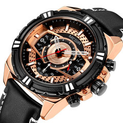 Sports Style Complete Calendar Chronograph Waterproof Leather Quartz Watch Men Wristwatch