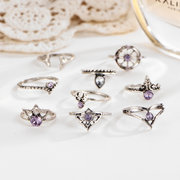 9 Pcs Vintage Statement Ring Set Helm Leaf Gem Knuckle Rings for Her Bohemian Jewelry for Women