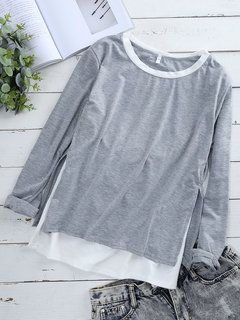 Fake Two Pieces Asymmetrical Pullover Long Sleeve Shirt