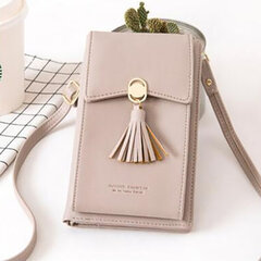 Women Faux Leather Leisure Tassel Crossbody Bag 5.5 Inches Phone Bag