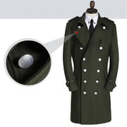 Mens Military Long Woolen Trench Coat Thickened Warm Double-breasted Slim Fit Casual Pea Coat