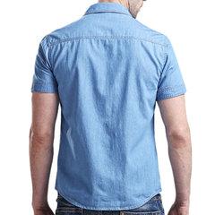 Plus Tamaño Casual Algodón Denim Flojo Banda Cuello Vestido Camisas para Hombres