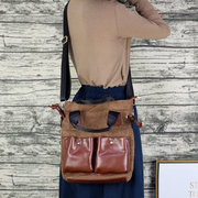 Women Suede Leather Tote Handbag Vintage Crossbody Bag
