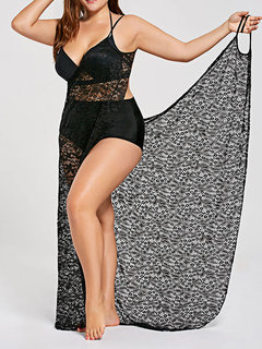 Sexy Lace Perspective Braces Skirt Beach Towel Cover-Ups Swimwear For Women